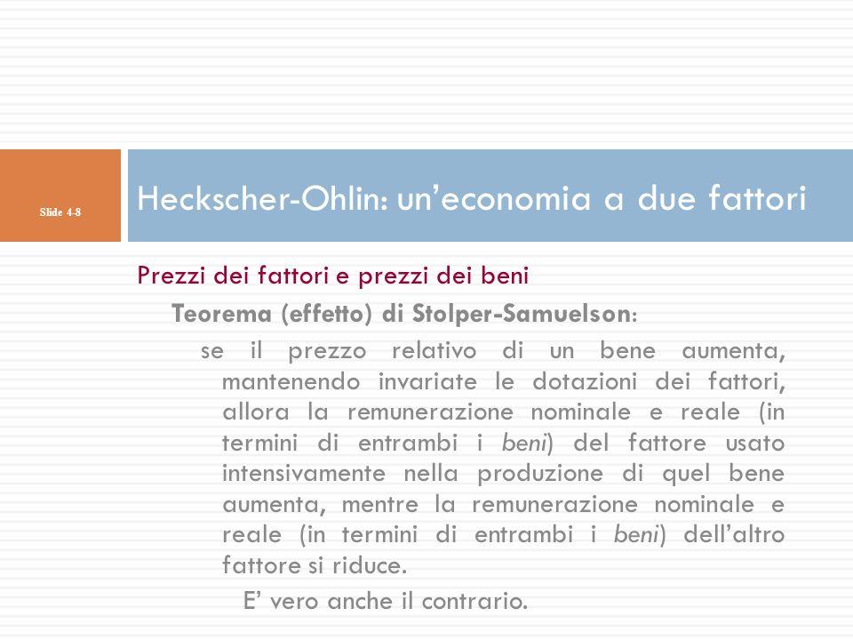 Prezzi dei fattori e prezzi dei beni Teorema (effetto) di Stolper-Samuelson: se il prezzo relativo di un bene aumenta, mantenendo invariate le dotazio