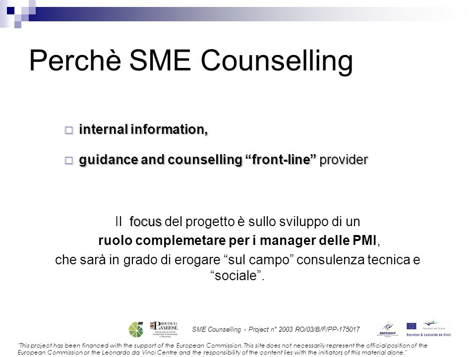 SME Counselling - Project n° 2003 RO/03/B/F/PP-175017 This project has been financed with the support of the European Commission.