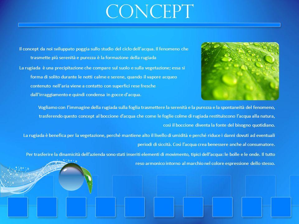 concept Il concept da noi sviluppato poggia sullo studio del ciclo dellacqua. Il fenomeno che trasmette più serenità e purezza è la formazione della r