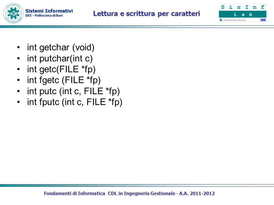 Sistemi Informativi DEE - Politecnico di Bari Fondamenti di Informatica CDL in Ingegneria Gestionale - A.A. 2011-2012 Lettura e scrittura per caratter