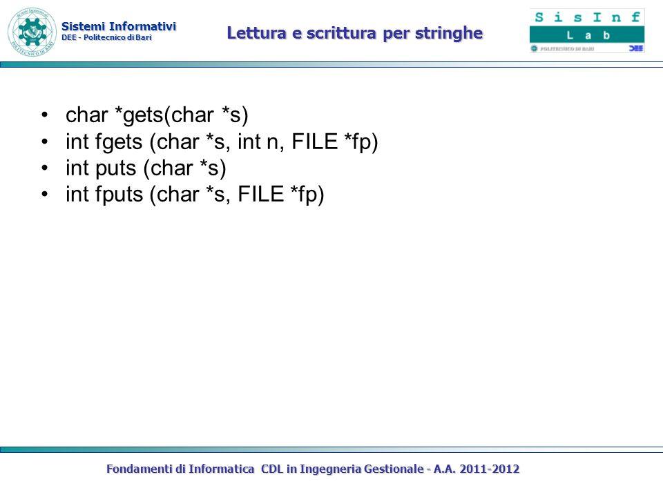 Sistemi Informativi DEE - Politecnico di Bari Fondamenti di Informatica CDL in Ingegneria Gestionale - A.A. 2011-2012 Lettura e scrittura per stringhe