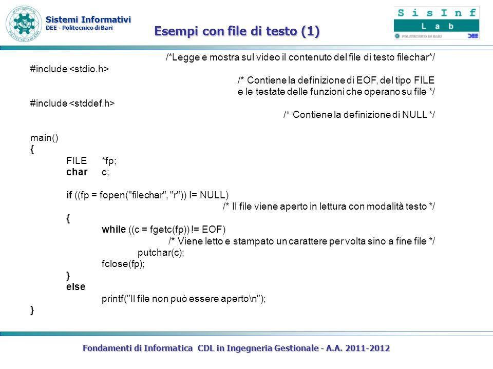 Sistemi Informativi DEE - Politecnico di Bari Fondamenti di Informatica CDL in Ingegneria Gestionale - A.A. 2011-2012 /*Legge e mostra sul video il co