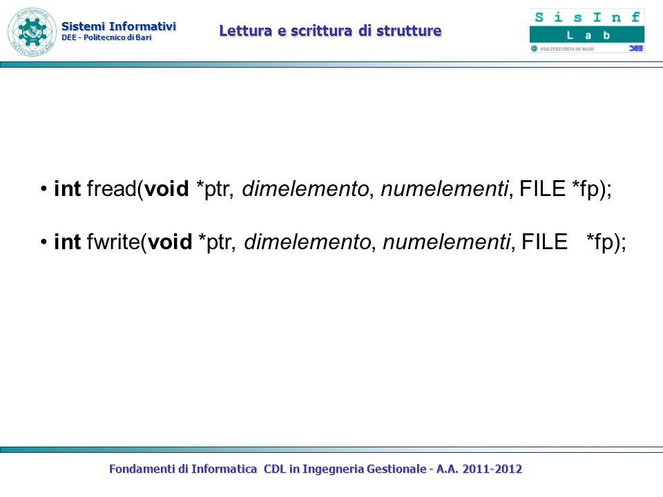 Sistemi Informativi DEE - Politecnico di Bari Fondamenti di Informatica CDL in Ingegneria Gestionale - A.A. 2011-2012 Lettura e scrittura di strutture