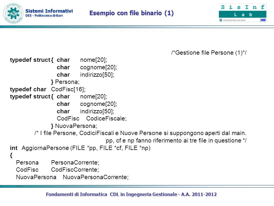 Sistemi Informativi DEE - Politecnico di Bari Fondamenti di Informatica CDL in Ingegneria Gestionale - A.A. 2011-2012 /*Gestione file Persone (1)*/ ty