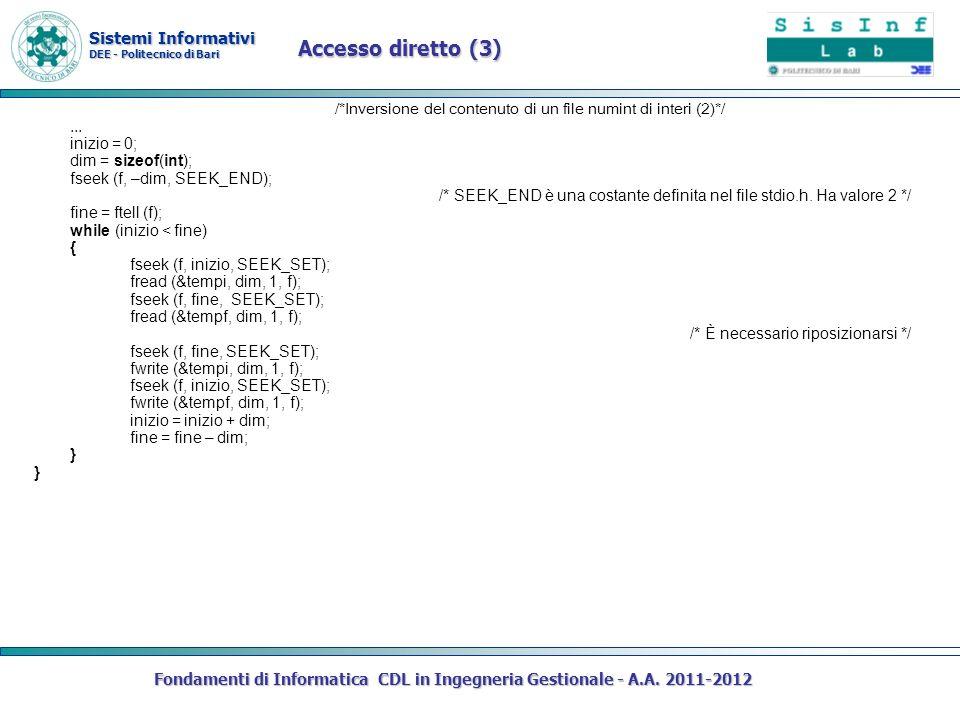 Sistemi Informativi DEE - Politecnico di Bari Fondamenti di Informatica CDL in Ingegneria Gestionale - A.A. 2011-2012 /*Inversione del contenuto di un