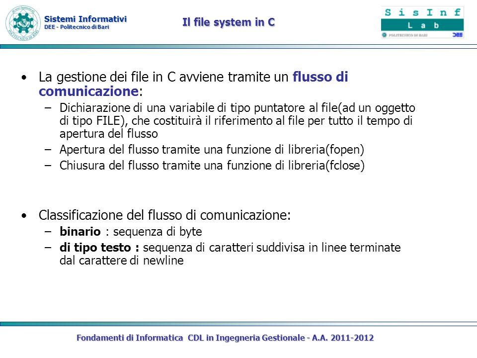 Sistemi Informativi DEE - Politecnico di Bari Fondamenti di Informatica CDL in Ingegneria Gestionale - A.A. 2011-2012 Il file system in C La gestione