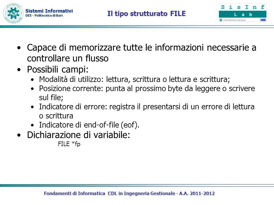 Sistemi Informativi DEE - Politecnico di Bari Fondamenti di Informatica CDL in Ingegneria Gestionale - A.A. 2011-2012 Il tipo strutturato FILE Capace