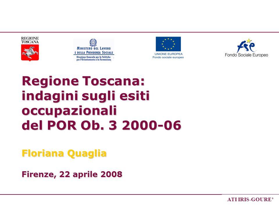 ATI IRIS-GOURE Regione Toscana: indagini sugli esiti occupazionali del POR Ob. 3 2000-06 Floriana Quaglia Firenze, 22 aprile 2008