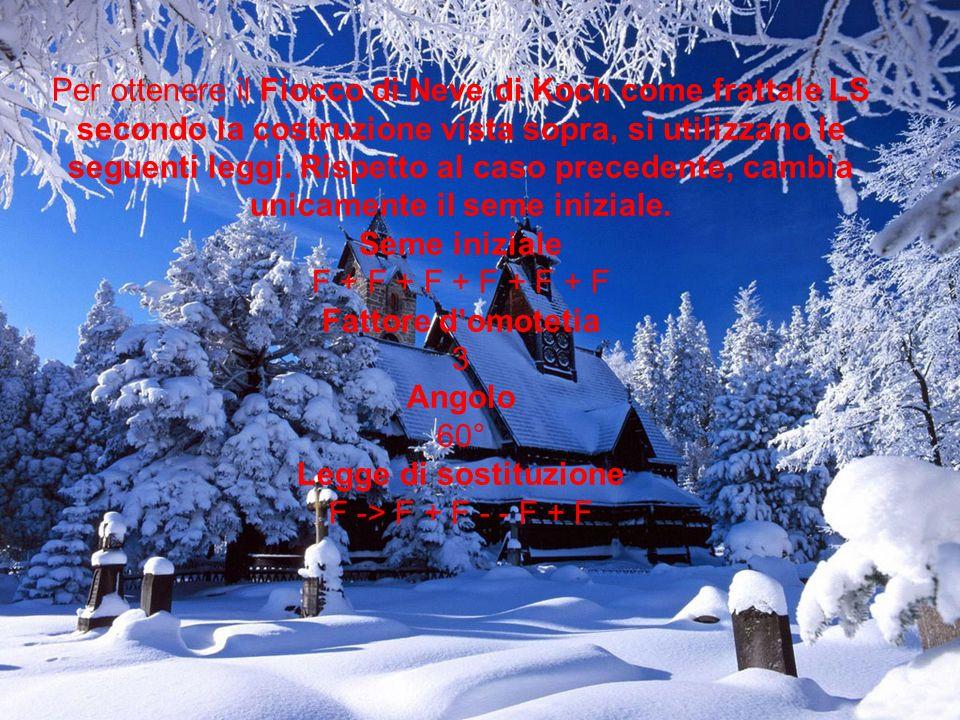 Per ottenere il Fiocco di Neve di Koch come frattale LS secondo la costruzione vista sopra, si utilizzano le seguenti leggi.