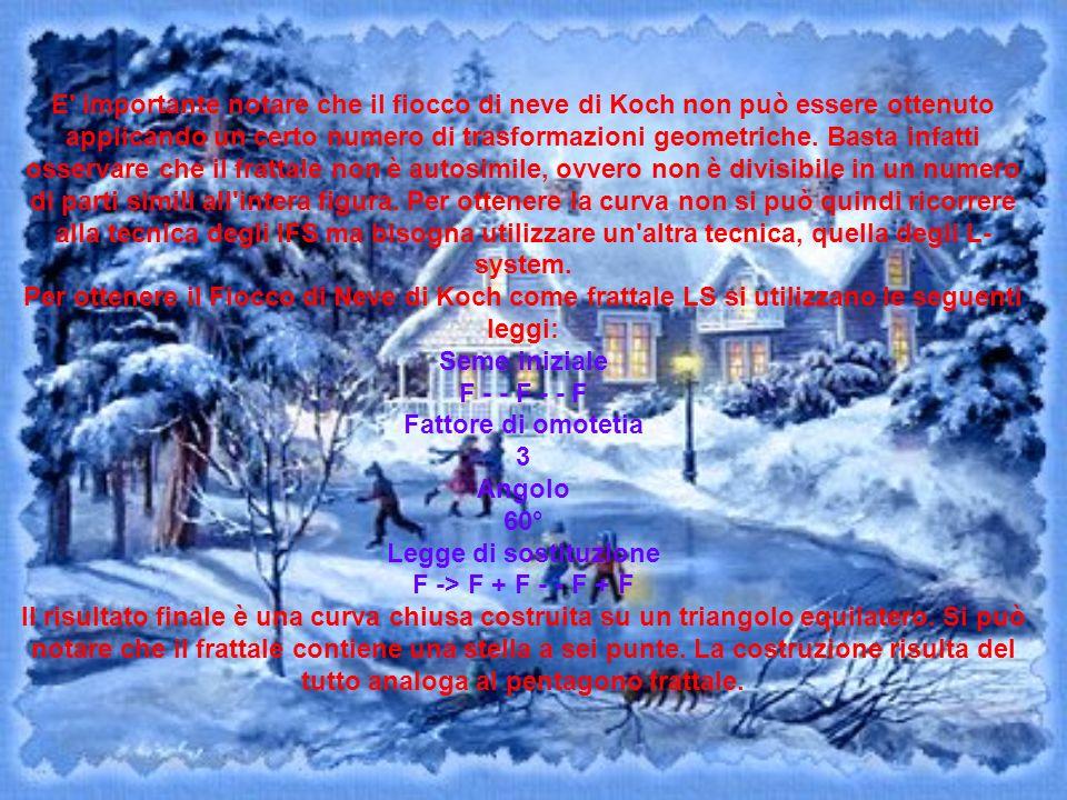 E' importante notare che il fiocco di neve di Koch non può essere ottenuto applicando un certo numero di trasformazioni geometriche. Basta infatti oss