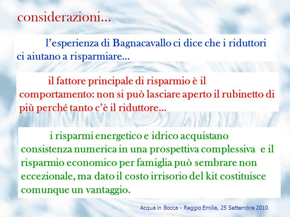 considerazioni… lesperienza di Bagnacavallo ci dice che i riduttori ci aiutano a risparmiare… il fattore principale di risparmio è il comportamento: n