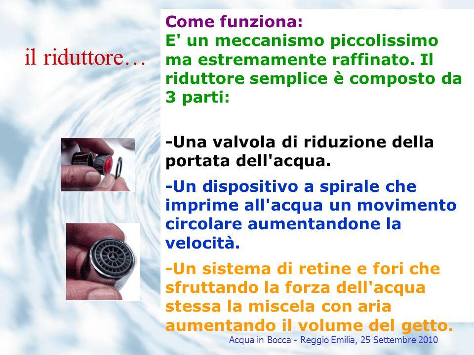 Il risparmio in CIFRE Risparmio idrico Risparmio energetico Tonnellate di petrolio equivalenti (TEP) Anidride carbonica (CO 2 ) Risparmio economico Acqua energia elettrica metano Acqua in Bocca - Reggio Emilia, 25 Settembre 2010