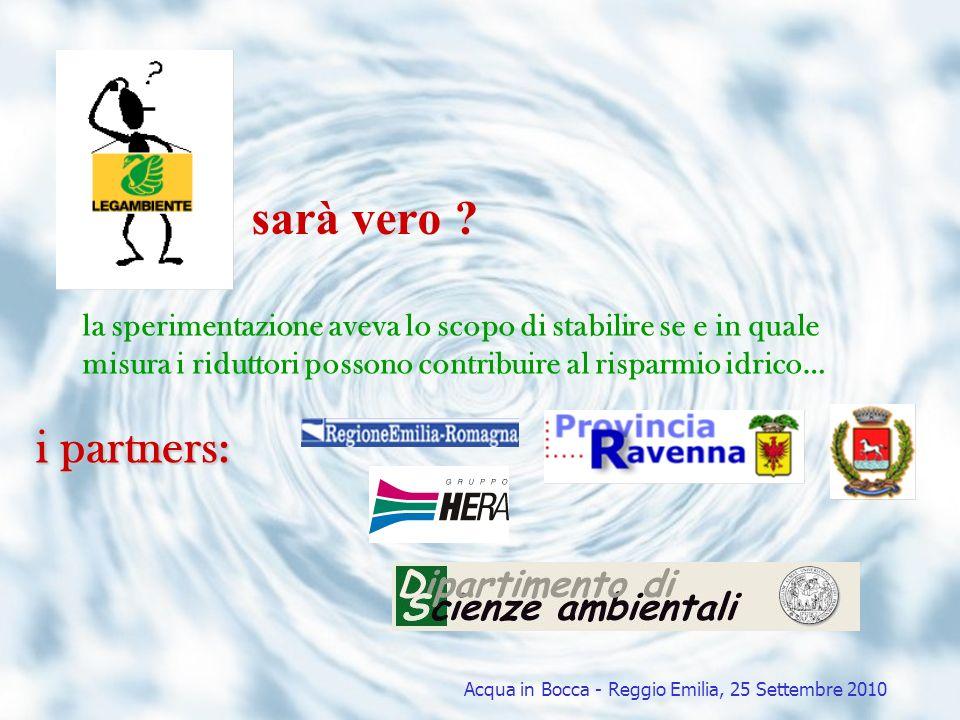 Risparmio idrico risparmio idrico totale stimato per tutte le utenze provviste di dispositivi riduttori di flusso durante lanno di sperimentazione 1 961 famiglie su un totale di 6 716 (circa il 30%) 22 203 m 3 /anno Risparmio idrico potenziale del comune Acqua in Bocca - Reggio Emilia, 25 Settembre 2010