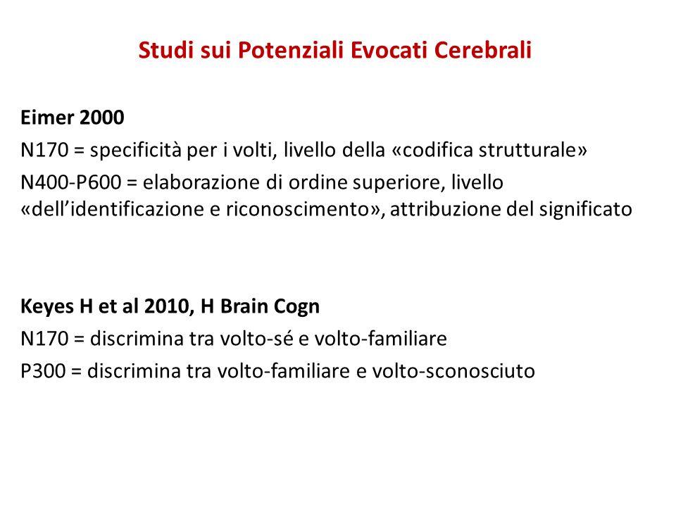 Studi sui Potenziali Evocati Cerebrali Eimer 2000 N170 = specificità per i volti, livello della «codifica strutturale» N400-P600 = elaborazione di ord