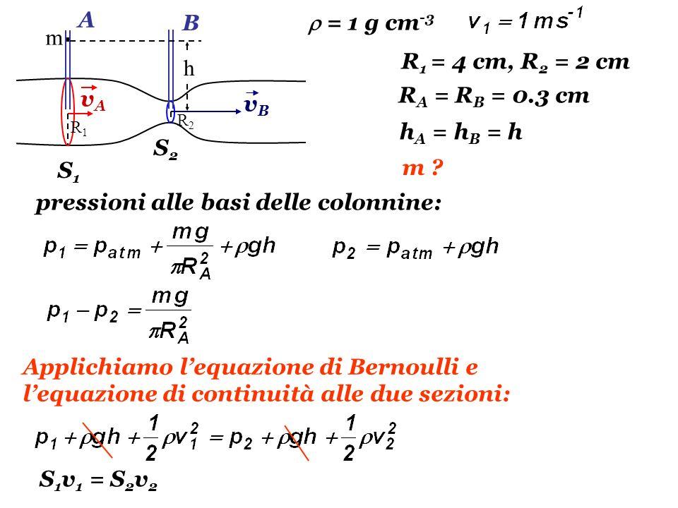 S1S1 S2S2 vAvA vBvB A B m h R1R1 R2R2 R 1 = 4 cm, R 2 = 2 cm R A = R B = 0.3 cm m ? pressioni alle basi delle colonnine: h A = h B = h Applichiamo leq
