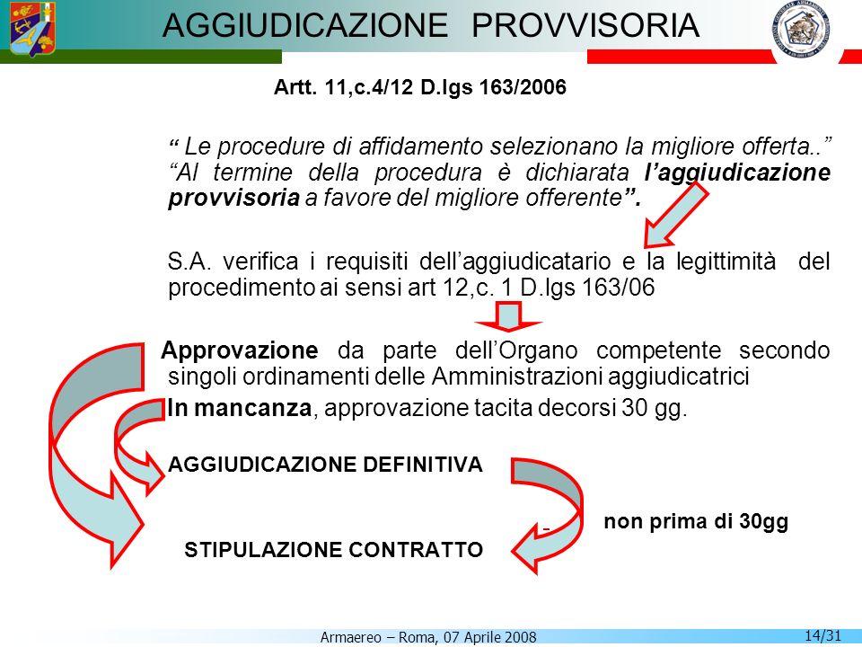 Armaereo – Roma, 07 Aprile 2008 14/31 AGGIUDICAZIONE PROVVISORIA Artt. 11,c.4/12 D.lgs 163/2006 Le procedure di affidamento selezionano la migliore of