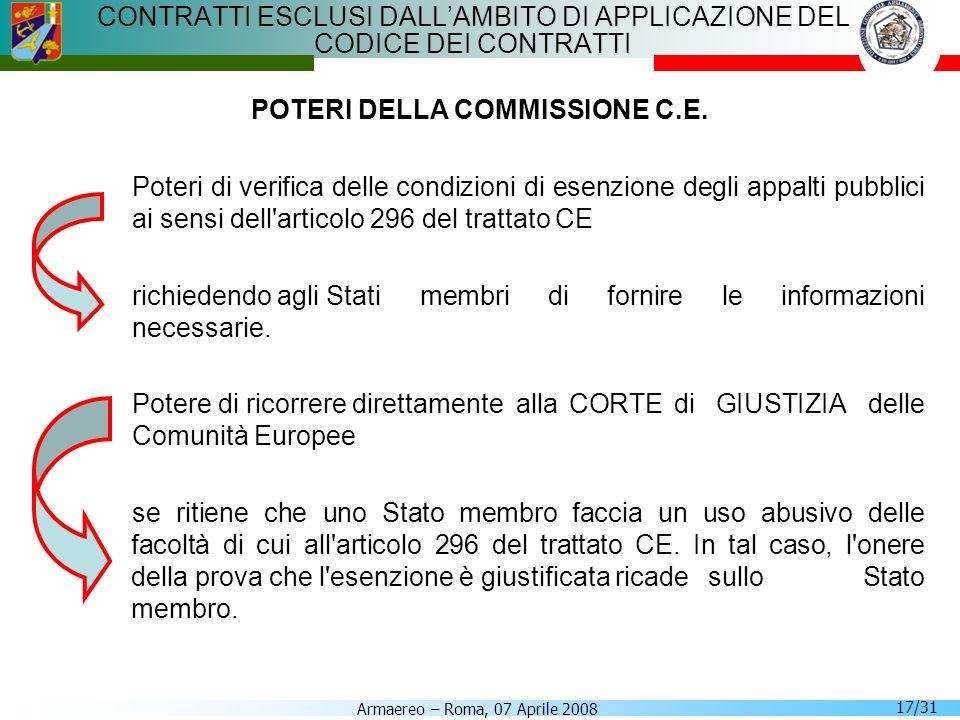 Armaereo – Roma, 07 Aprile 2008 17/31 CONTRATTI ESCLUSI DALLAMBITO DI APPLICAZIONE DEL CODICE DEI CONTRATTI POTERI DELLA COMMISSIONE C.E. Poteri di ve