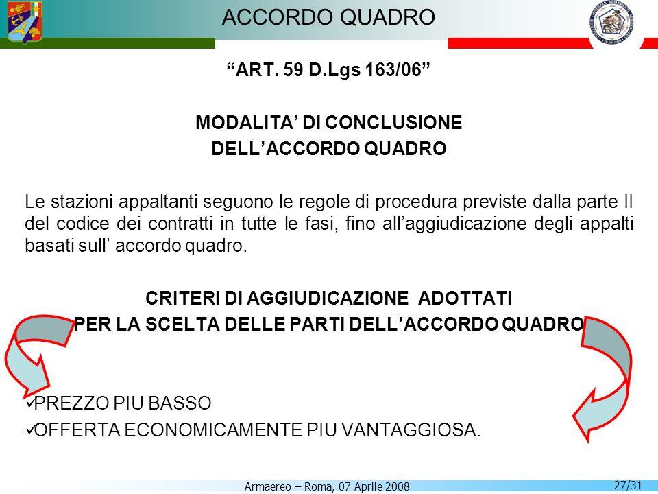 Armaereo – Roma, 07 Aprile 2008 27/31 ACCORDO QUADRO ART. 59 D.Lgs 163/06 MODALITA DI CONCLUSIONE DELLACCORDO QUADRO Le stazioni appaltanti seguono le