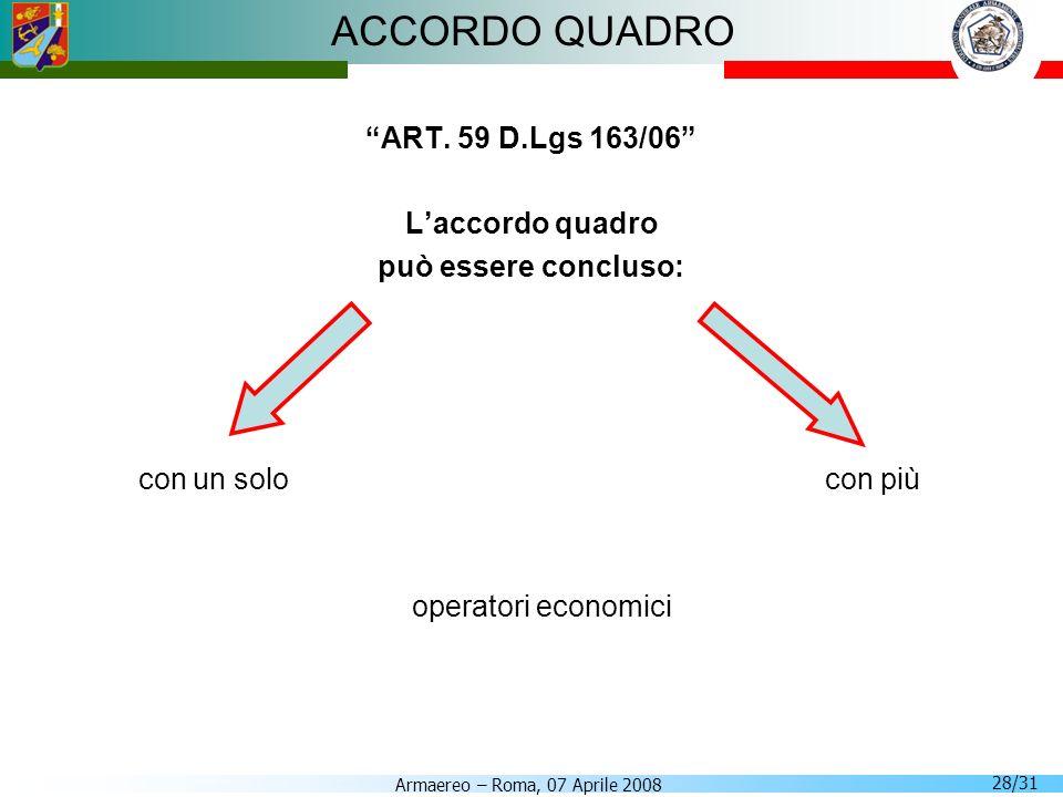 Armaereo – Roma, 07 Aprile 2008 28/31 ACCORDO QUADRO ART. 59 D.Lgs 163/06 Laccordo quadro può essere concluso: con un solo con più operatori economici