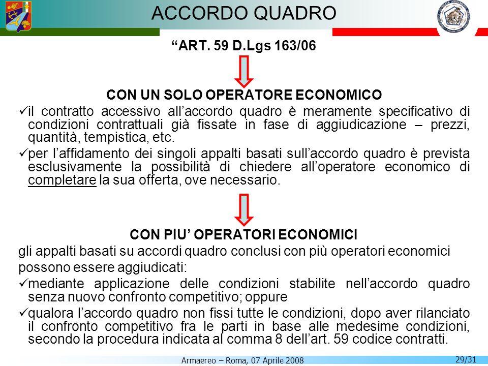 Armaereo – Roma, 07 Aprile 2008 29/31 ACCORDO QUADRO ART. 59 D.Lgs 163/06 CON UN SOLO OPERATORE ECONOMICO il contratto accessivo allaccordo quadro è m