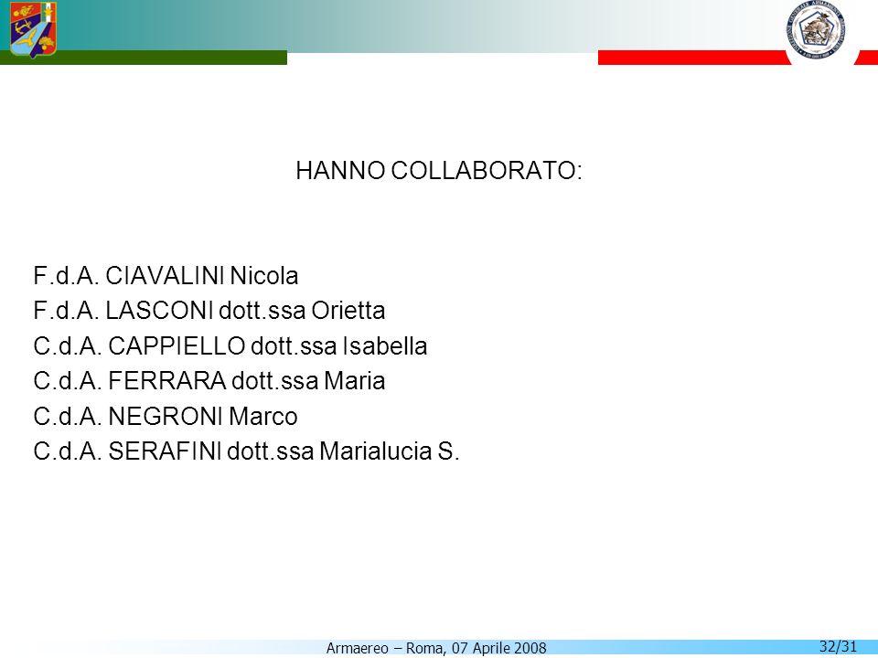Armaereo – Roma, 07 Aprile 2008 32/31 HANNO COLLABORATO: F.d.A. CIAVALINI Nicola F.d.A. LASCONI dott.ssa Orietta C.d.A. CAPPIELLO dott.ssa Isabella C.
