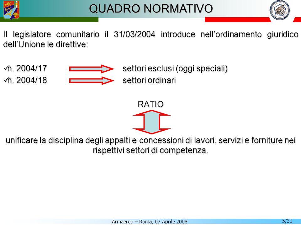 Armaereo – Roma, 07 Aprile 2008 5/31 QUADRO NORMATIVO Il legislatore comunitario il 31/03/2004 introduce nellordinamento giuridico dellUnione le diret