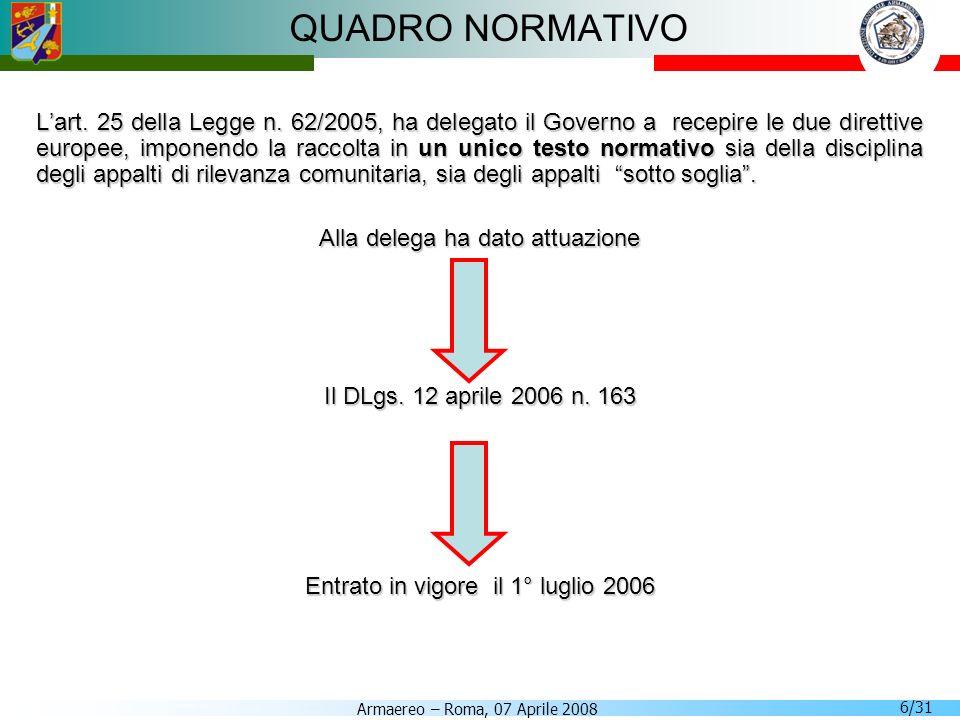 Armaereo – Roma, 07 Aprile 2008 6/31 QUADRO NORMATIVO Lart. 25 della Legge n. 62/2005, ha delegato il Governo a recepire le due direttive europee, imp