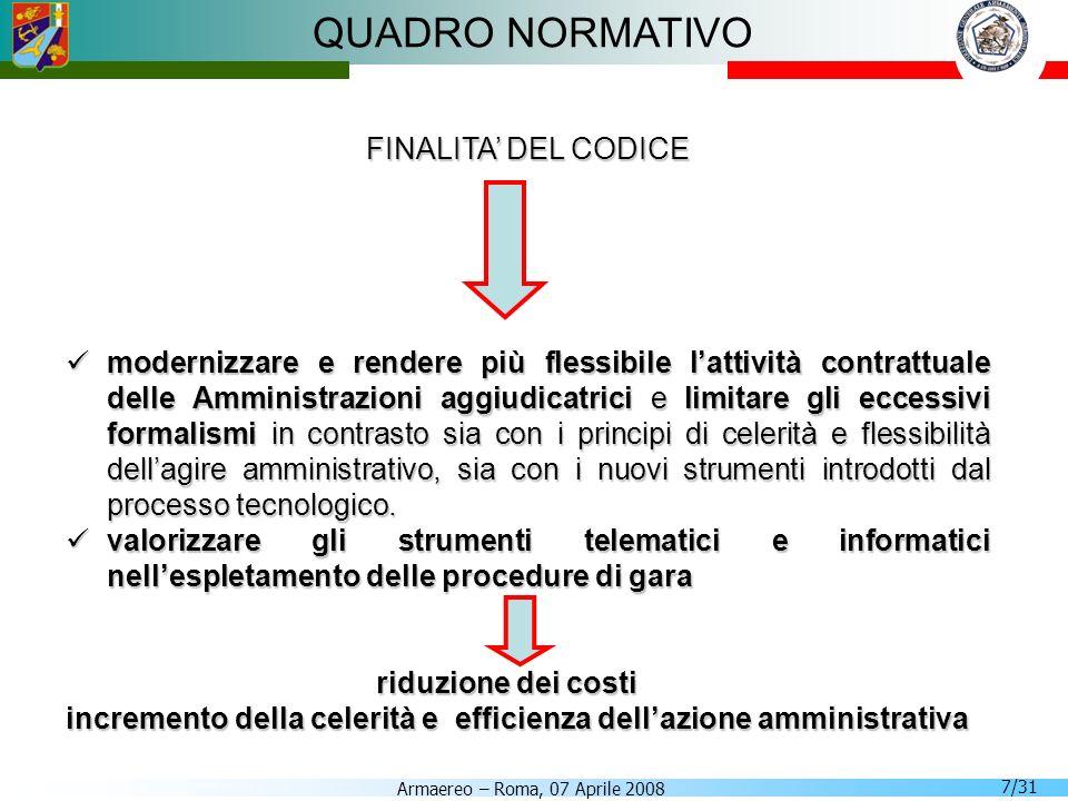 Armaereo – Roma, 07 Aprile 2008 7/31 QUADRO NORMATIVO FINALITA DEL CODICE modernizzare e rendere più flessibile lattività contrattuale delle Amministr