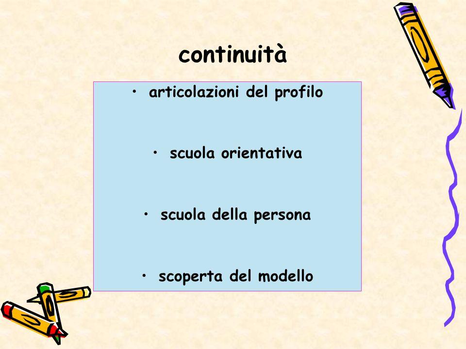 continuità articolazioni del profilo scuola orientativa scuola della persona scoperta del modello