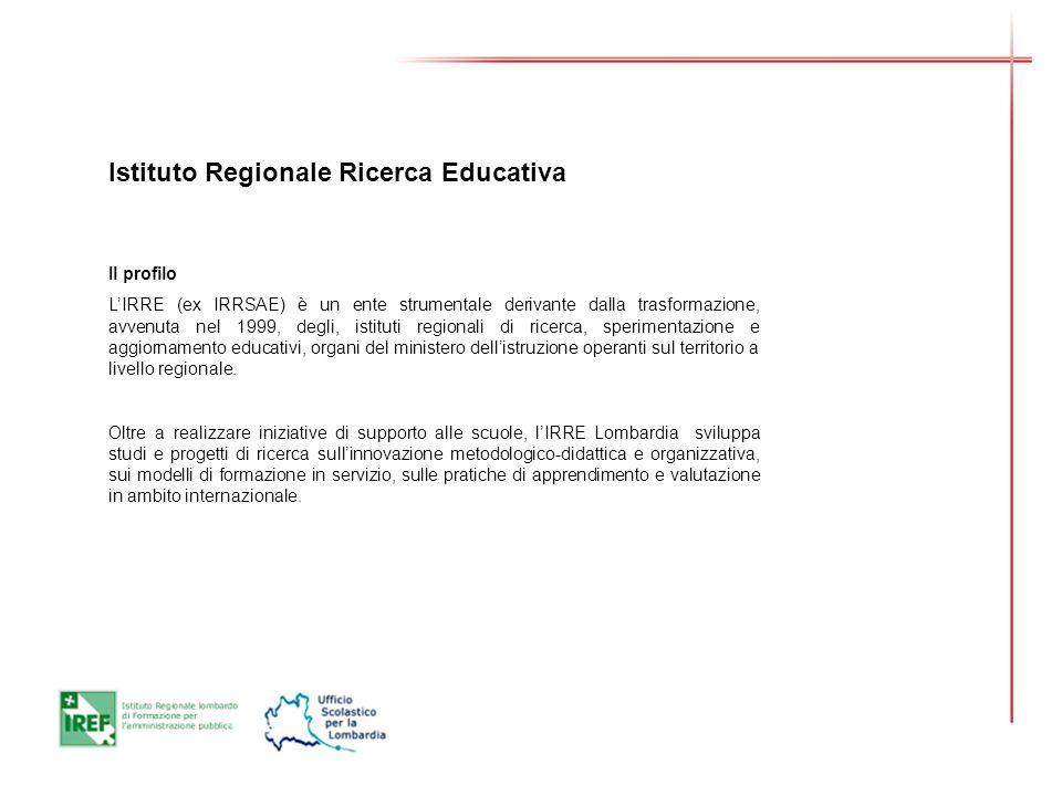 Istituto Regionale Ricerca Educativa Il profilo LIRRE (ex IRRSAE) è un ente strumentale derivante dalla trasformazione, avvenuta nel 1999, degli, istituti regionali di ricerca, sperimentazione e aggiornamento educativi, organi del ministero dellistruzione operanti sul territorio a livello regionale.