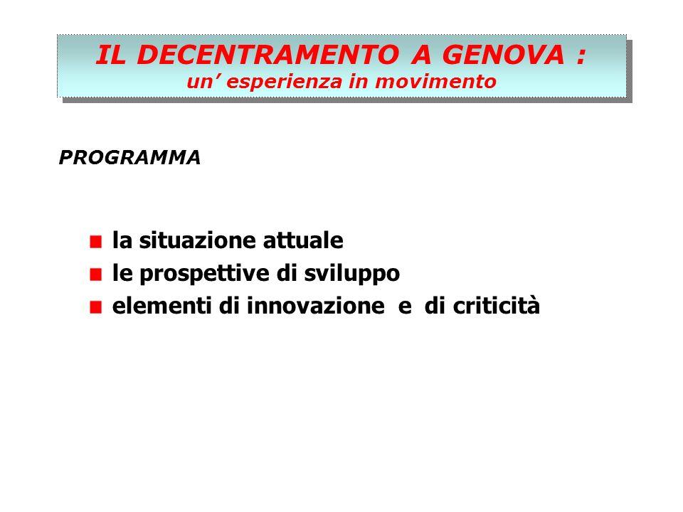 IL DECENTRAMENTO A GENOVA : un esperienza in movimento IL DECENTRAMENTO A GENOVA : un esperienza in movimento PROGRAMMA la situazione attuale le prospettive di sviluppo elementi di innovazione e di criticità