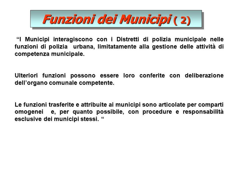 Funzioni dei Municipi ( 2) I Municipi interagiscono con i Distretti di polizia municipale nelle funzioni di polizia urbana, limitatamente alla gestione delle attività di competenza municipale.