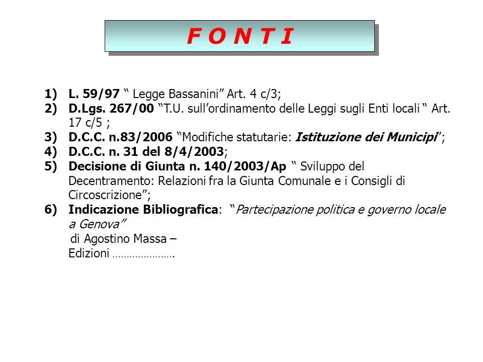 F O N T I 1)L. 59/97 Legge Bassanini Art. 4 c/3; 2)D.Lgs.