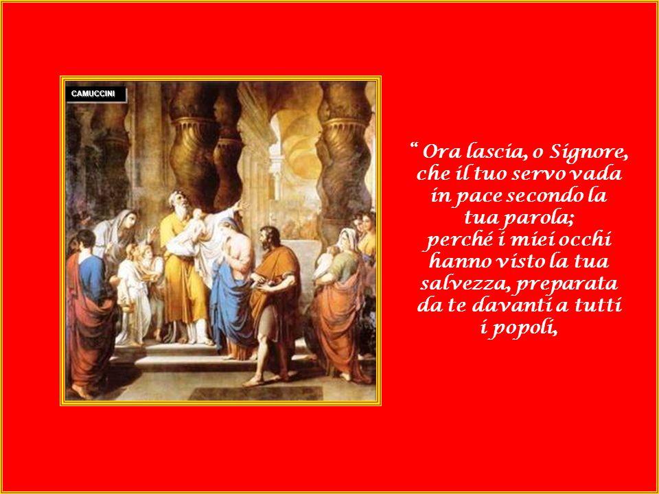 Mosso dunque dallo Spirito, si recò al tempio e mentre i genitori vi portavano il bambino Gesù per adempiere la Legge, lo prese tra le braccia e benedisse Dio: