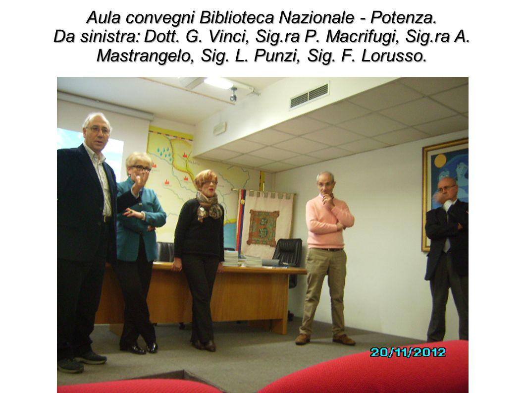 Aula convegni Biblioteca Nazionale - Potenza. Da sinistra: Dott. G. Vinci, Sig.ra P. Macrifugi, Sig.ra A. Mastrangelo, Sig. L. Punzi, Sig. F. Lorusso.