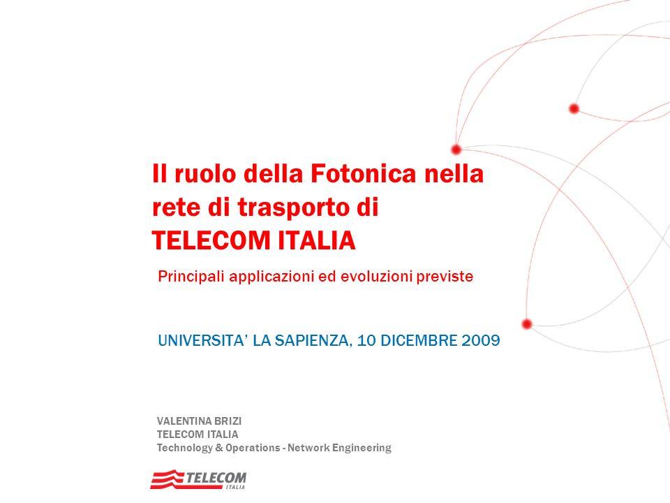 VALENTINA BRIZI TELECOM ITALIA Technology & Operations - Network Engineering Il ruolo della Fotonica nella rete di trasporto di TELECOM ITALIA Princip