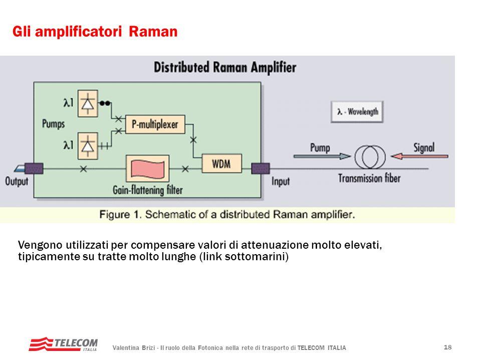 Valentina Brizi - Il ruolo della Fotonica nella rete di trasporto di TELECOM ITALIA 18 Gli amplificatori Raman Vengono utilizzati per compensare valor