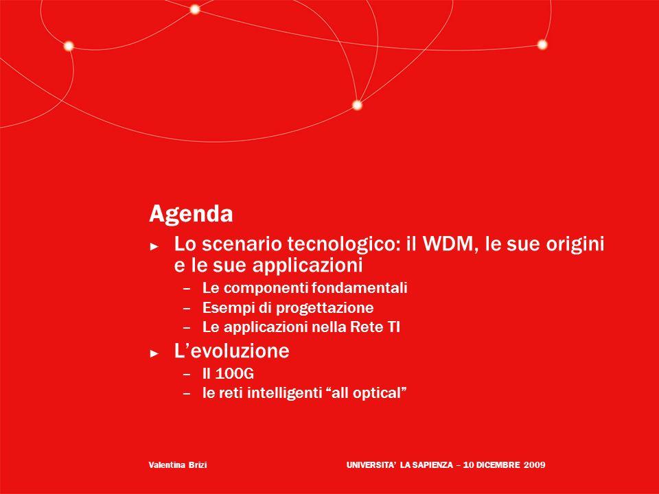Valentina BriziUNIVERSITA LA SAPIENZA – 10 DICEMBRE 2009 Agenda Lo scenario tecnologico: il WDM, le sue origini e le sue applicazioni –Le componenti f