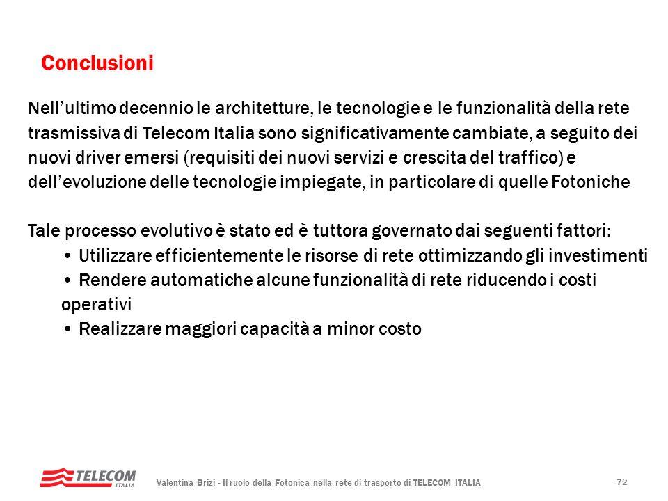 Valentina Brizi - Il ruolo della Fotonica nella rete di trasporto di TELECOM ITALIA 72 Conclusioni Nellultimo decennio le architetture, le tecnologie