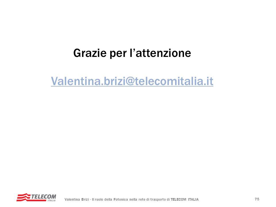 Valentina Brizi - Il ruolo della Fotonica nella rete di trasporto di TELECOM ITALIA 75 Grazie per lattenzione Valentina.brizi@telecomitalia.it