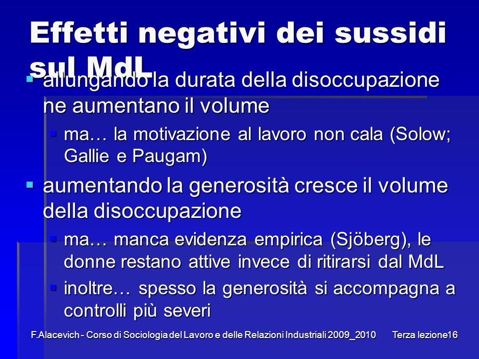 F.Alacevich - Corso di Sociologia del Lavoro e delle Relazioni Industriali 2009_2010 Terza lezione16 Effetti negativi dei sussidi sul MdL allungando l
