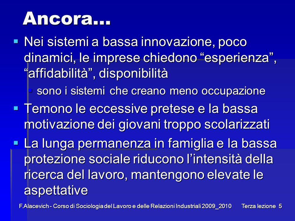 F.Alacevich - Corso di Sociologia del Lavoro e delle Relazioni Industriali 2009_2010 Terza lezione5 Ancora... Nei sistemi a bassa innovazione, poco di