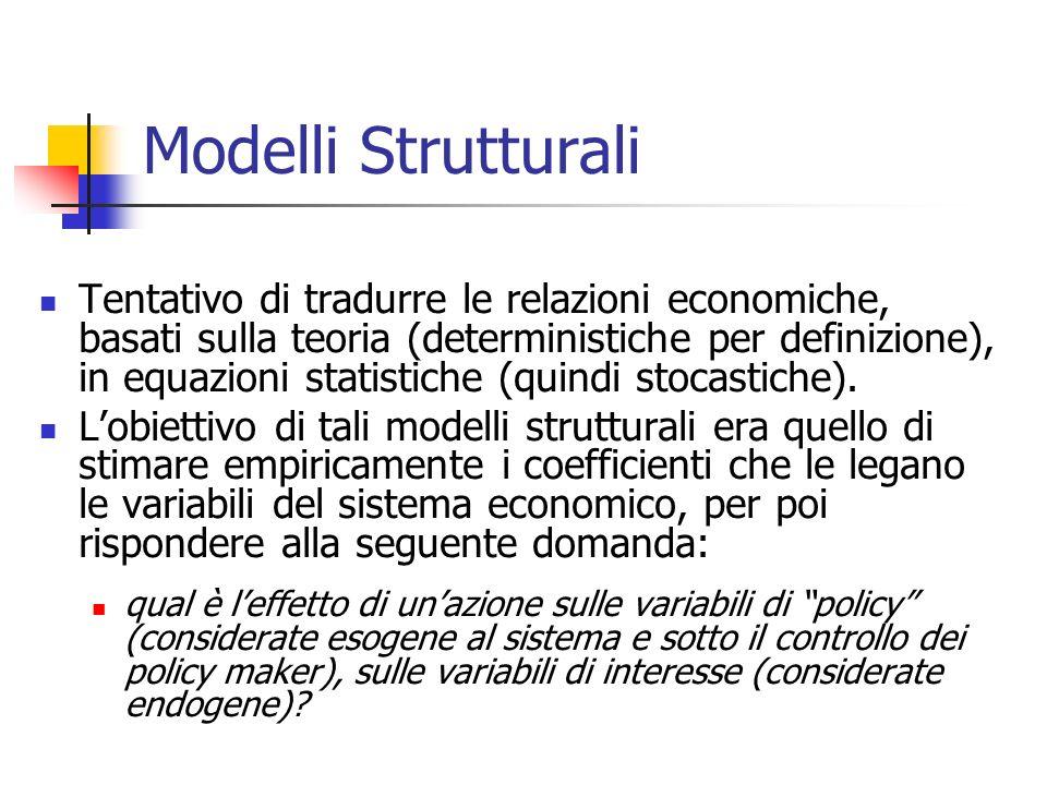 Modelli Strutturali Tentativo di tradurre le relazioni economiche, basati sulla teoria (deterministiche per definizione), in equazioni statistiche (qu
