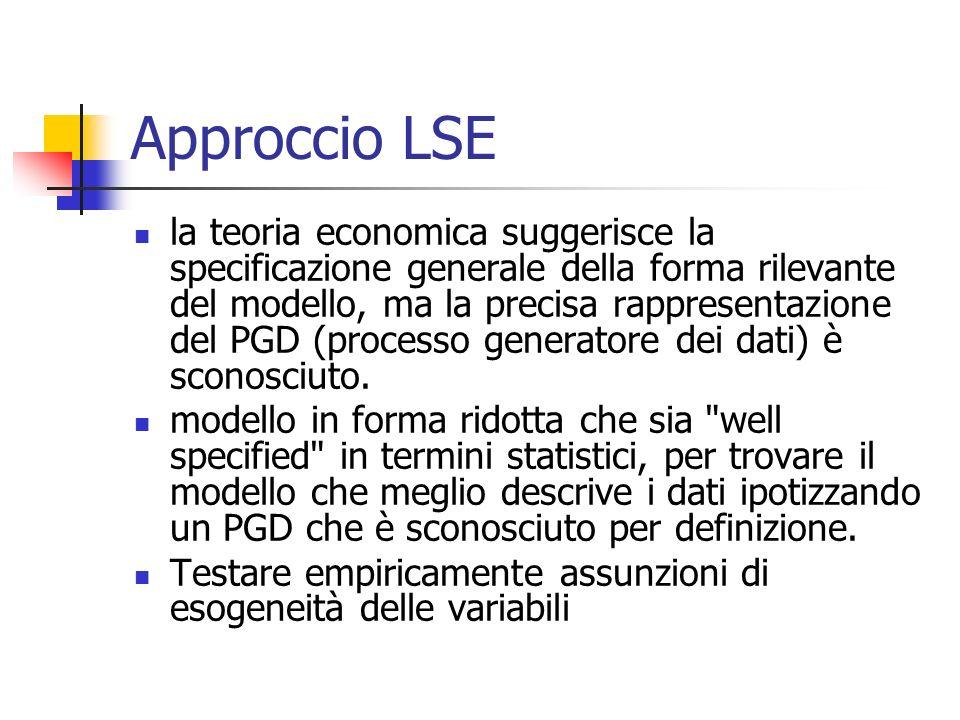 Approccio LSE la teoria economica suggerisce la specificazione generale della forma rilevante del modello, ma la precisa rappresentazione del PGD (processo generatore dei dati) è sconosciuto.