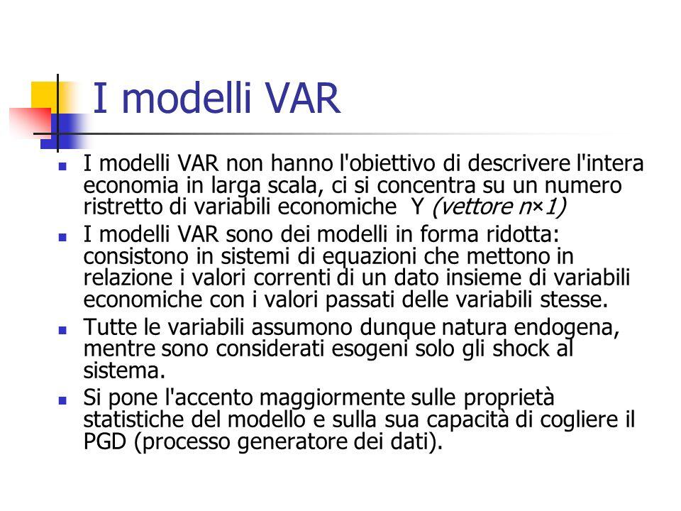 I modelli VAR I modelli VAR non hanno l obiettivo di descrivere l intera economia in larga scala, ci si concentra su un numero ristretto di variabili economiche Y (vettore n×1) I modelli VAR sono dei modelli in forma ridotta: consistono in sistemi di equazioni che mettono in relazione i valori correnti di un dato insieme di variabili economiche con i valori passati delle variabili stesse.