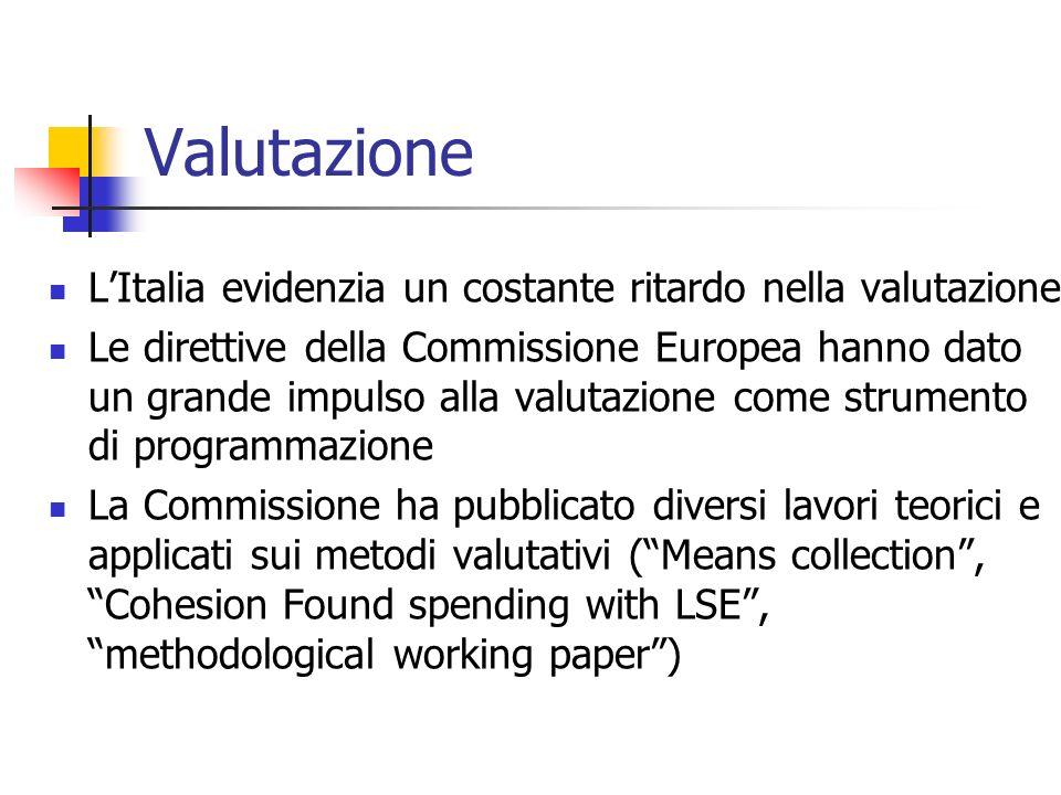Valutazione LItalia evidenzia un costante ritardo nella valutazione Le direttive della Commissione Europea hanno dato un grande impulso alla valutazio