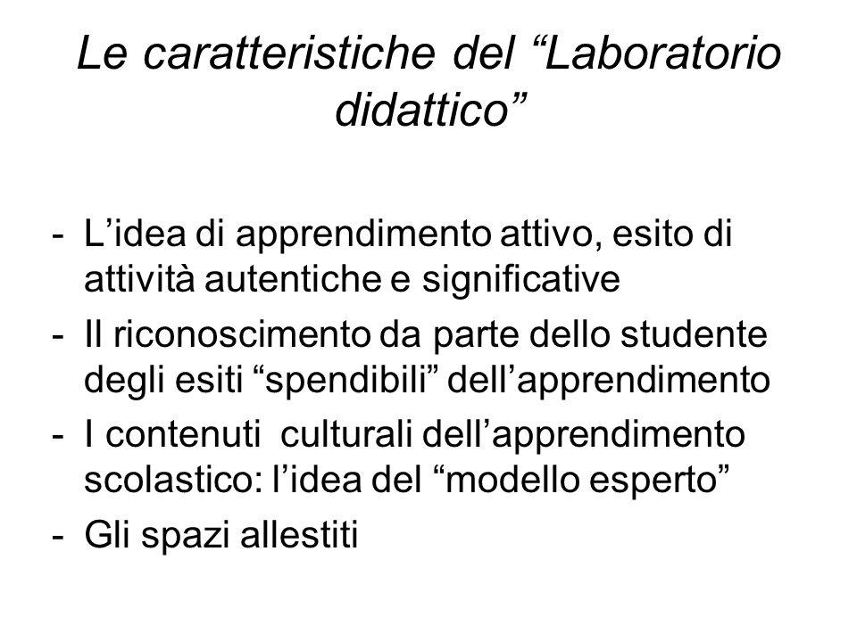 Le caratteristiche del Laboratorio didattico -Lidea di apprendimento attivo, esito di attività autentiche e significative -Il riconoscimento da parte
