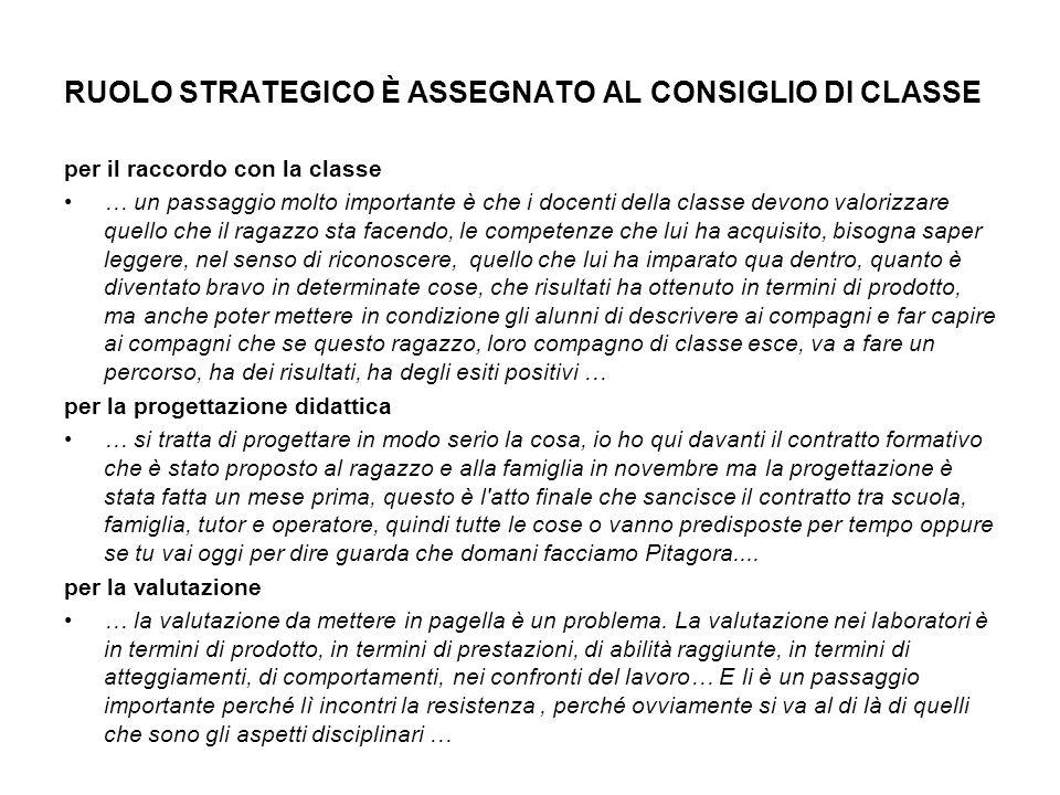 RUOLO STRATEGICO È ASSEGNATO AL CONSIGLIO DI CLASSE per il raccordo con la classe … un passaggio molto importante è che i docenti della classe devono