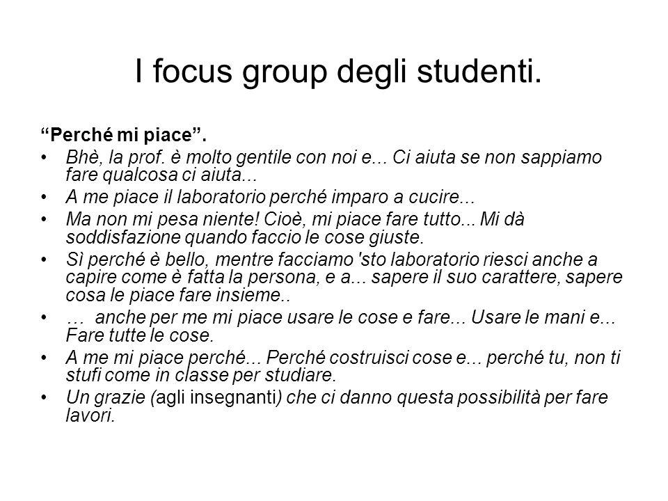 I focus group degli studenti. Perché mi piace. Bhè, la prof. è molto gentile con noi e... Ci aiuta se non sappiamo fare qualcosa ci aiuta... A me piac