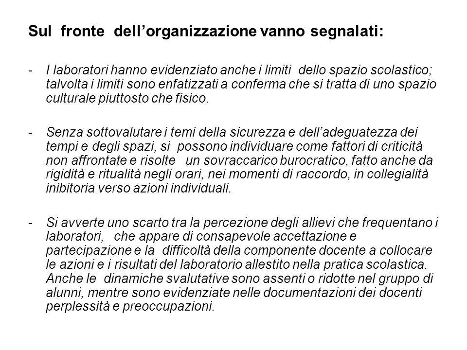Sul fronte dellorganizzazione vanno segnalati: -I laboratori hanno evidenziato anche i limiti dello spazio scolastico; talvolta i limiti sono enfatizz